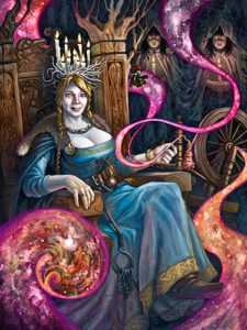 Frigga the All-Mother sits upon her throne in Asguard weaving the cosomos.