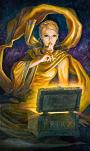 Frigg looks into her casket of treasures. She is the Lady of Asguard, keeper of secrets, and teller of none.